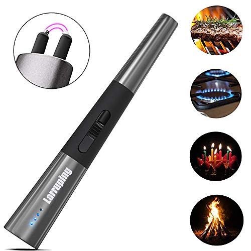Larruping Candle Lighter, Electric Arc Lighter with LED Battery Display,USB Rechargeable Plasma Lighter for Camping Cooking BBQs Fireworks