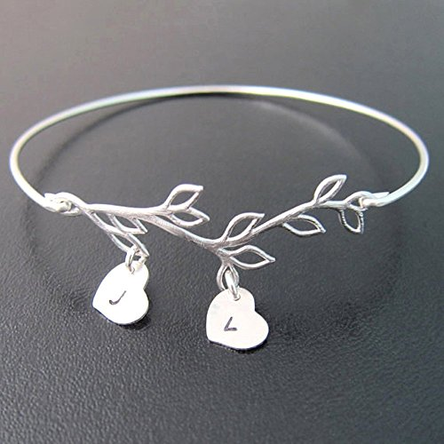 Bracelet Initials Heart (Family Tree Bracelet Customize with 2 to 9 Heart Initial Charms Personalized Gift Jewelry for Mother)
