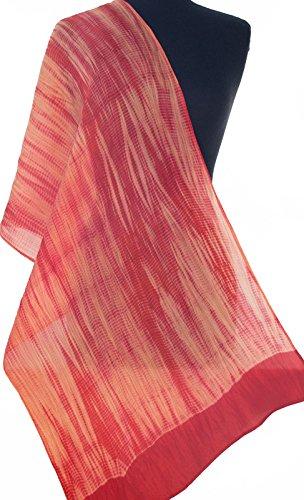 Warm Pale Orange Hand-Dyed Shibori Silk Scarf 72