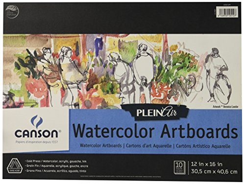 Canson Plein Air Watercolor Art Board Pad for Watercolor, Ink, Gouache and Acrylic, 12 x 16 Inch, Set of 10 Boards