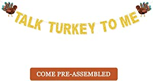 JOZON Talk Turkey To Me Banner Gold Glitter Thanksgiving Garland with Turkey Sign Thanksgiving Party Supplies for Mantle Fireplace Wall Party Decorations