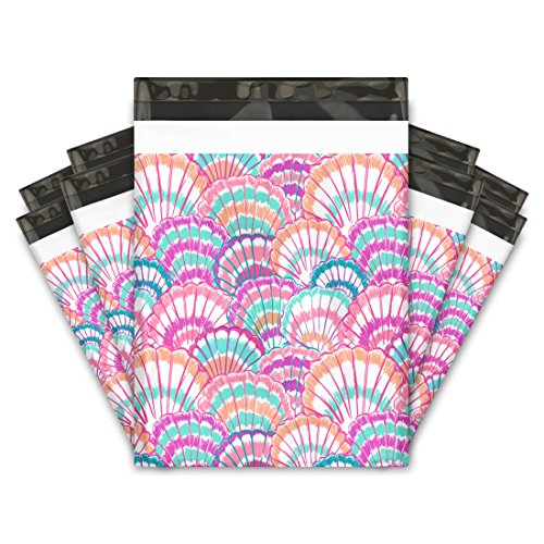 10x13 (100) Summer Seashell Designer Poly Mailers Shipping Envelopes Premium Printed Bags