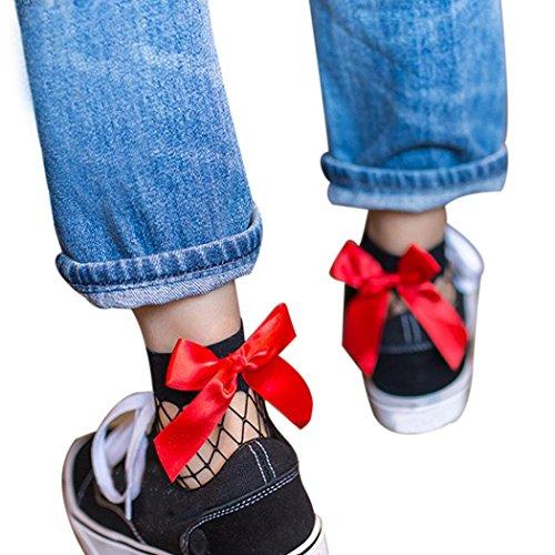 Socken Rüsche Mode Mesh Socken Frauen Kurze Knoten Socken 2017 D Knöchel Spitze Hohe Fischnetz HARRYSTORE Bow B1qTdT