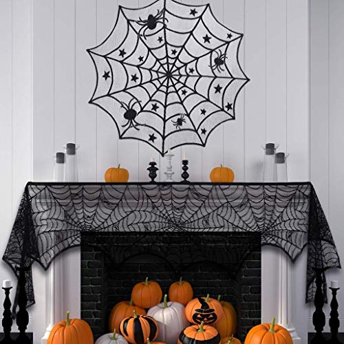 IslandseHalloween Decorations Sets Halloween Tablecloth Spooky Bat Spiderweb Lace 3Pcs - Sets Inch 40
