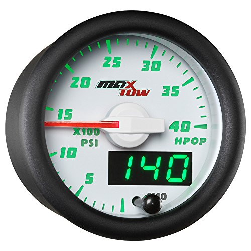 MaxTow Double Vision 4,000 PSI High Pressure Oil Pressure HPOP Gauge - for 1994-2003 7.3L & 2003-2007 6.0L Ford Power Stroke Diesel Engines - White Gauge Face - Green LED Dial - 2-1/16