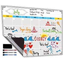 Dry Erase Calendar, Fridge Magnetic Calendar, White Board Planner for Refrigerator, Monthly & Weekly Set by Jancosta (MPB11)