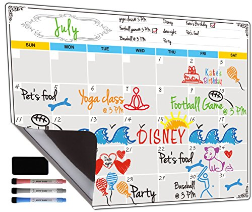 (Dry Erase Calendar, Fridge Magnetic Calendar, White Board Planner for Refrigerator, Monthly & Weekly Set by Jancosta)