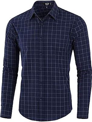 TATT 21 Men Plaid Shirt Cotton Slim Fit Long Sleeve Check Dress Button Down Shirts