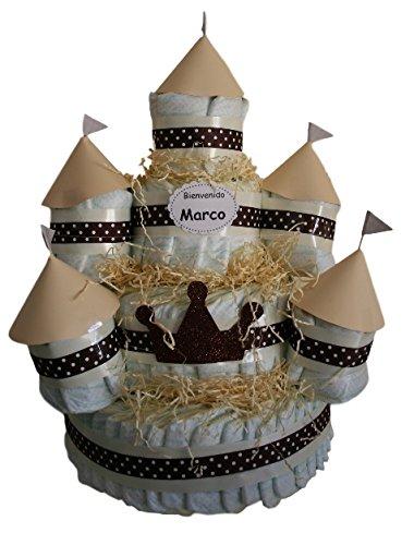 Castillo de pañales Beige, 120 pañales Dodot, tarta de pañales ideal como regalo de