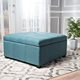 """Christopher Knight Home 299736 Living Carlyle Dark Teal Fabric Storage Ottoman D x 35.00""""W x 18.50""""H"""
