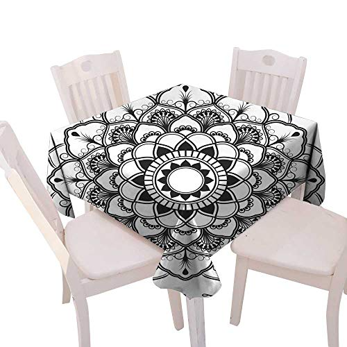 longbuyer Wrinkle Free Tablecloths Mandala Decorative Ornament Design for Coloring Page Square Tablecloth W 36