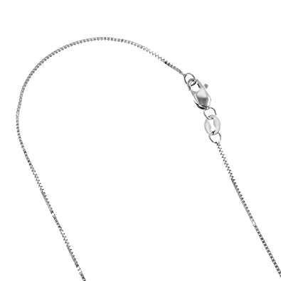 IcedTime Solid 10K White Gold Box Chain 0.8mm Wide Necklace with Lobster  Claw Clasp ( ea42745de8