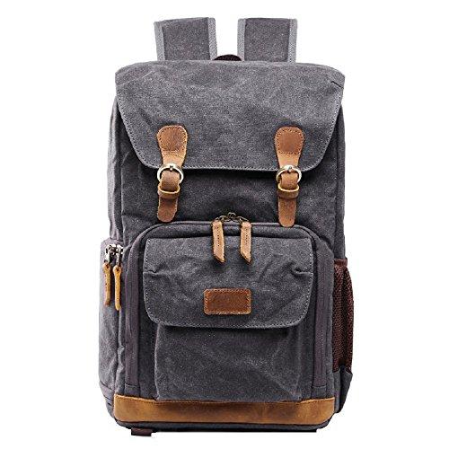 Photo Rucksack - Love Needs Waterproof Camera Backpack Casual Canvas DSLR Camera Bag Laptop Daypacks Digital Camera Accessories Hiking Traveling Rucksack Photo Gear Backpack(Dark Grey)
