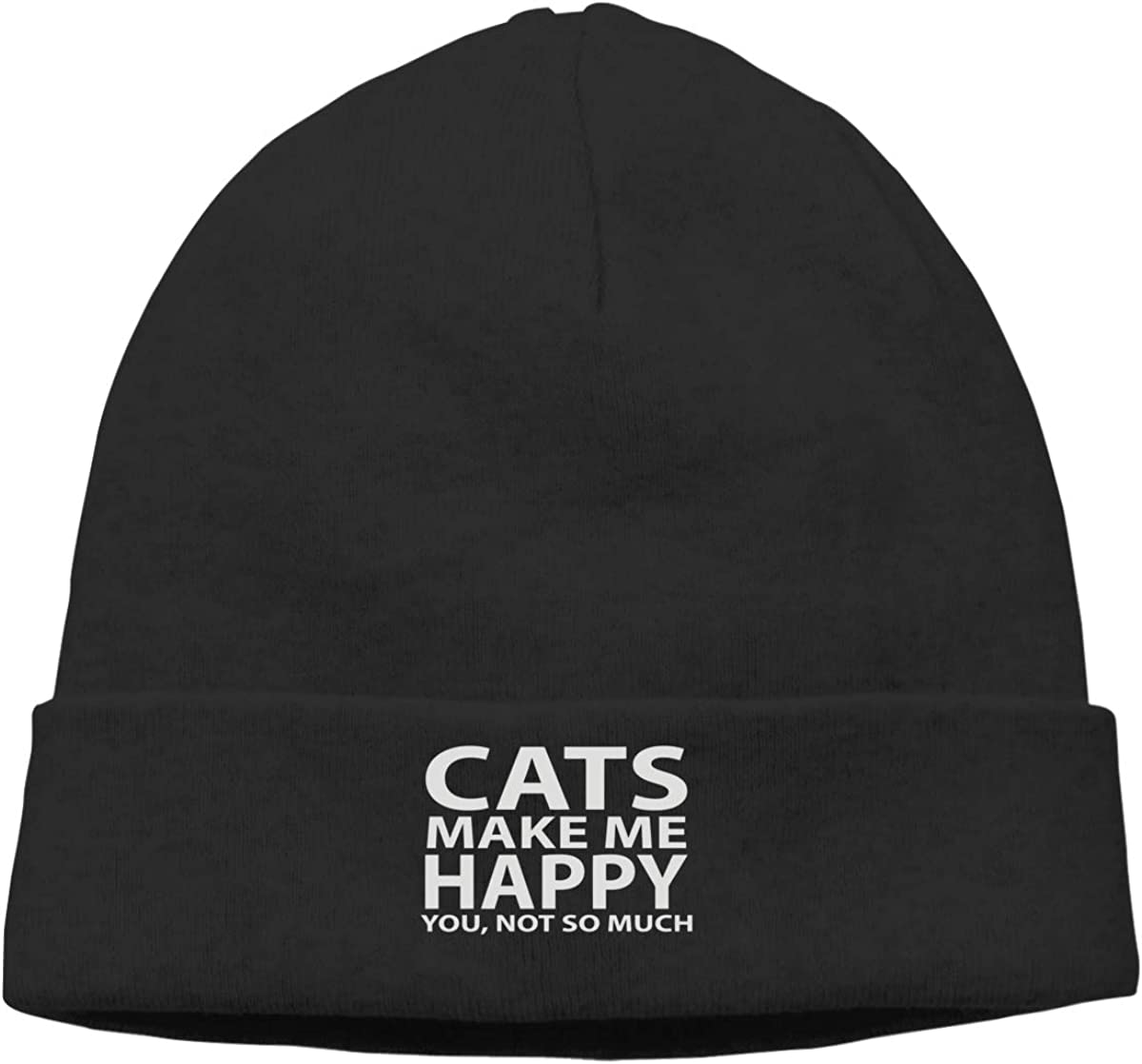 Cats Make Me Happy You Not So Much 1 Knit Caps Knit Hat Skull for Mens Black