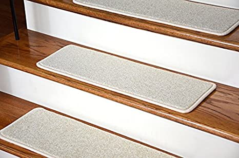 Dean Serged Diy Carpet Stair Treads 13 Buff Ivory Beige Plush 27 X 9 With Double Sided Tape Included