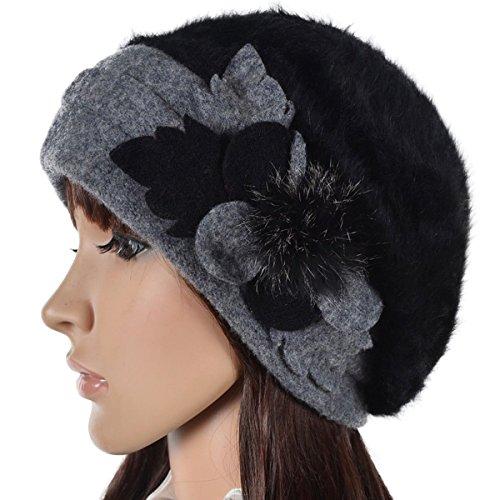 Wool Vintage Womens Hat - Wimdream Women's 100% Wool Cloche Hat For Winter C020 (Br022-Black)