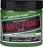 Manic Panic Electric Lizard Green Hair Color Cream – Classic High Voltage Semi-Permanent Hair Dye - Vivid, Green Shade For Dark, Light Hair – Vegan, PPD & Ammonia-Free - Ready-to-Use, No-Mix Coloring