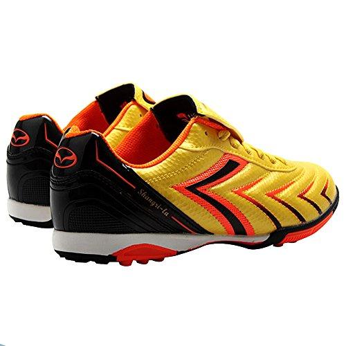 Tiebao Hombre fútbol de césped Deporte Zapatos de Fútbol PU Cuero Gold
