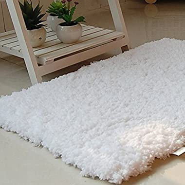AccMart Bathroom Rug Floor Mat Soft Absorbent White 30inch by 20inch by 1.6inch