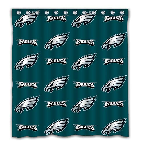 Sorcerer Design Colourful Philadelphia Eagles Shower Curtain American Tootball Team Polyester Waterproof for Bathroom Decoration Set with Hooks 66x72 Inches (Philadelphia Eagles Curtains)