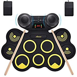 Asmuse Portable Electric Drum Set 9 Pads Built-in Dual Speaker Portable Practice Pads with Bluetooth Function Headphone…