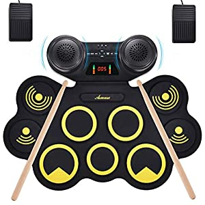 Asmuse Portable Electric Drum Set 9 Pads Built-in Dual Speaker Portable Practice Pads with Bluetooth Function Headphone… Drum Sets