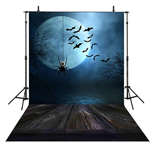 Allenjoy 5x7ft photography backdrop background Scary Halloween party Spider hanging in the moonlight Bats flying in the night with a full moon moonlight trees props photo studio -