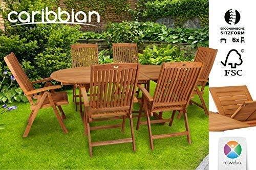Miweba Siege Groupe Belmont De Jardin Salon De Jardin 6 Personnes En Bois Meubles De Jardin Table De Jardin Amazon Fr Jardin