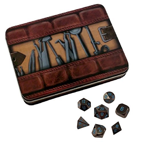 Skull Splitter Dice - Thieves' Tools with Icy Doom | Shiny Black Nickel with Blue Numbering Metal Dice - Solid Metal Polyhedral Role Playing Game (RPG) Dice Set (7 Die in Pack) with Dice Case [並行輸入品]   B077QLWNGX