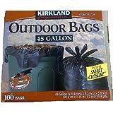 Kirkland Signature Smart Closure Outdoor Lawn Trash Bags, 45-Gallon, 100 Count