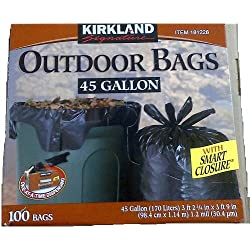 Kirkland Signature Smart Closure Outdoor Lawn 45 gallon Trash Bags, 100 Count