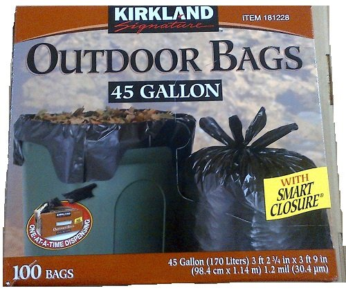 Kirkland Signature Smart Closure Outdoor Lawn 45 gallon Trash Bags, 100 Count