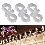HSIULMY 60 PCS Christmas Light Gutter Clips, Gutter Hooks Plastic S Clip Hooks for String Lights for Patio, Roof Christmas Light Clips,Decorative Rope Lights,Holiday Wedding Party Light Hooks