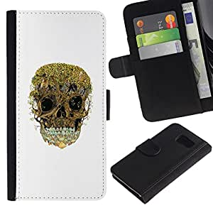 All Phone Most Case / Oferta Especial Cáscara Funda de cuero Monedero Cubierta de proteccion Caso / Wallet Case for Samsung Galaxy S6 // Trees Forest Skull Nature Deep White