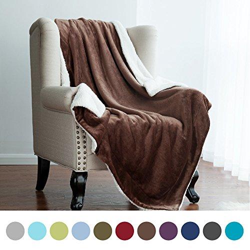 "Bedsure Sherpa Throw Blanket Brown 50""x60"" Reversible Fuzzy"