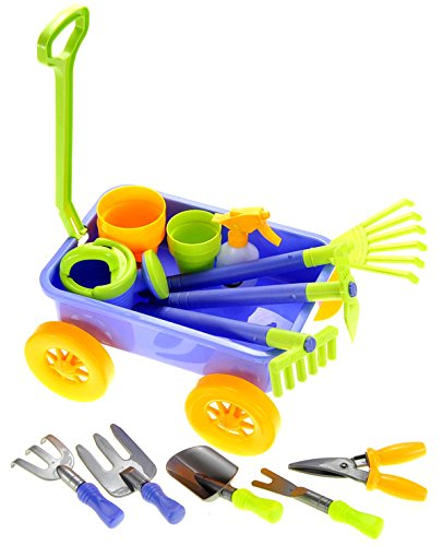 PowerTRC Garden Wagon & Tools Toy Set for Kids with 8 Gardening Tools, 4 Pots, Water Pail and Spray - Great for Beach & Sand Too! (Set Wagon)