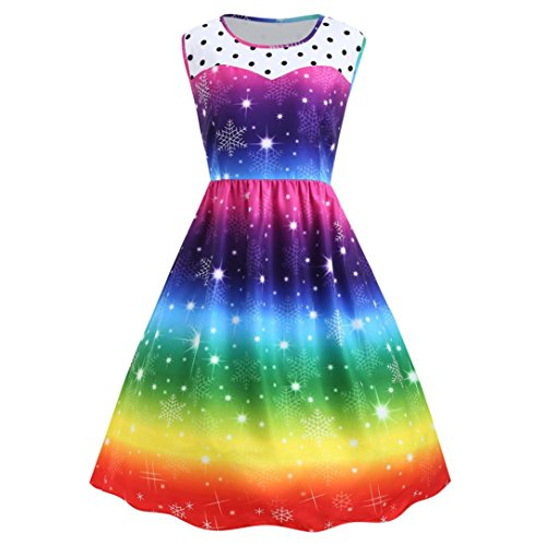 Women Dress, Gillberry Womens Christmas Rainbow Party Dress Vintage Xmas Swing Dress (Multicolor, XL=Asian Size XXL) -