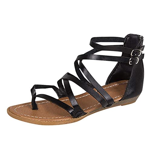 690c2e18316 Image Unavailable. Image not available for. Color: Womens Clearance Sandals  Cross Strap Beach Flat Roman Shoes Shoes