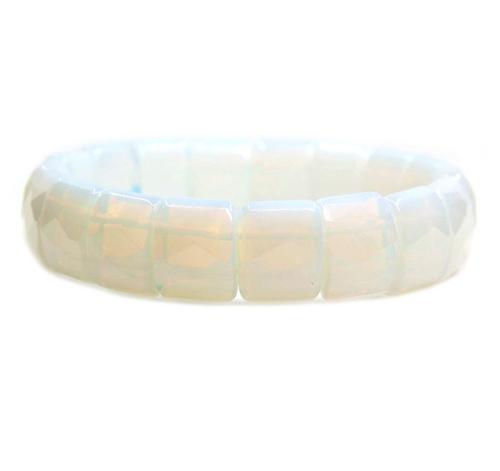 Opalite Glass Genuine Semi Precious Gemstone 15mm Square Grain Faceted beaded Stretchable Bracelet 7''