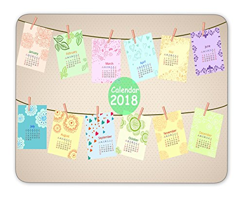 Lovely fun 2018 calendar Mouse Pad, Quality Creative Wrist-protected Wristbands Personalized Desk, Mouse Pad (9.5 inch x 7.9 inch)