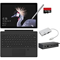 2017 New Surface Pro Bundle ( 6 Items ): Core i5 4GB RAM 128GB Tablet, Surface Dock, Surface Pro 4 Type Cover Black, New Surface Pen Platinum, 128GB Micro SD Card, Mini DisplayPort Adapter