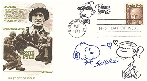 - Charles M. Schulz - Original Art On First Day Cover Signed co-signed By: Bil Keane, Charles Bragg