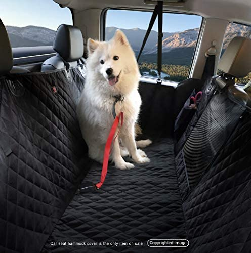 LEVSHA Waterproof Dog Pet Split Hammock with Mesh Window, Car Rear Seat Cover – Non-Skid, No Chemical Odor, Sturdy Construction – Black for Cars Compact SUVs