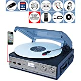 Boytone BT-17DJS-C,6 IN1,3 Speed Stereo Turntable 2 Built in Speakers Digital LCD Display AM/FM Radio + Supports USB/SD/AUX+ Cassette/ MP3/WMA Playback /Recorder/ Headphone Jack + Remote Control