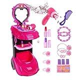 Gili Makeup Toy Dresser Pretend Play for Girls, Salon Vanity & Mirror & Working Hair Dryer