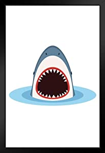 Shark with Open Mouth Coming Out of Water Art Print Black Wood Framed Poster 14x20 inch