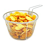 Best Utensils Stainless Steel Deep Fry Basket Round Wire Mesh Fruit Strainer With Resting Feet and Long Handle Frying Cooking Tool Food Presentation Tableware, 5.7 Quart