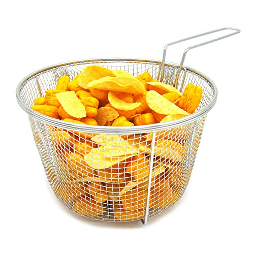 (Best Utensils Stainless Steel Deep Fry Basket Round Wire Mesh Fruit Strainer With Resting Feet and Long Handle Frying Cooking Tool Food Presentation Tableware, 5.7 Quart )