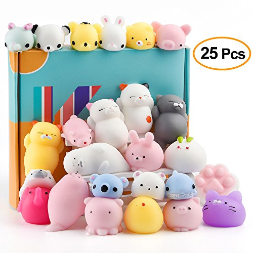 KUUQA 25Pcs Squishy Toys Kawaii Squishies Animals Panda Cat Paw Cute Mini Soft Squeeze Stress Reliever Balls Toys Birthday Party Bag Gifts Favours for -