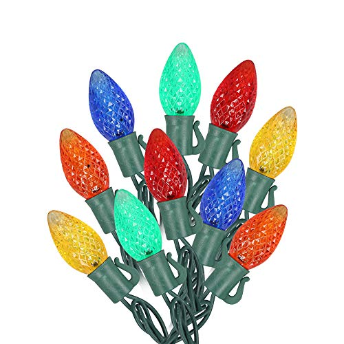 MAXINDA [Commercial Grade] Outdoor Colored Led Christmas Lights,13 Ft 25 C7 Bulb,Indoor Decorative Xmas Tree Lights,Wedding Party Garden Holiday Halloween Festive Mood Lighting to Bright Your Home Up (Festive Christmas Tree)
